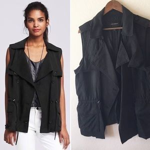 Banana Republic Vest Utility XL Black Drapey